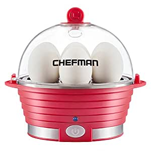 Chefman RJ24-V2-Red Modern Stylish Design Electric Countertop Egg Cooker with Removable Tray, Red
