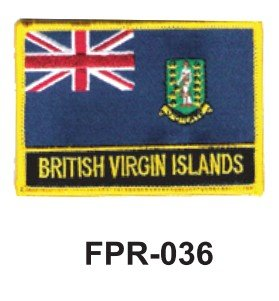 2-1/2'' X 3-1/2'' Flag Embroidered Patch British Virgin Islands (Officially Licensed) (Virgin Island Flag Patch)
