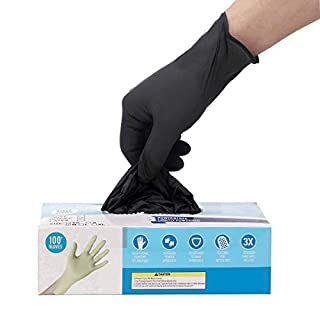 100pcs Disposable Gloves,Shipped from The US and Arrived in 7-10 Days,100pcs,Latex Free,Powder Free,Soft Industrial Gloves,Cleaning Glove for Home Use(Color:Black; Size:S)