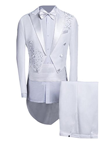 Abetteric Mens Sequin Glitter Swallowtail Tuxedo Blazer & Pants Set White L