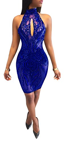 Backless Bodycon Sexy Mini Floral See Blue Halter Club Royal Acelyn Dress Through Sequins Women's qzxw0nt56v