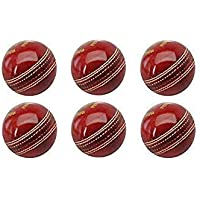 A2Z HUB Cricket Leather Ball RED, (Pack of 6)