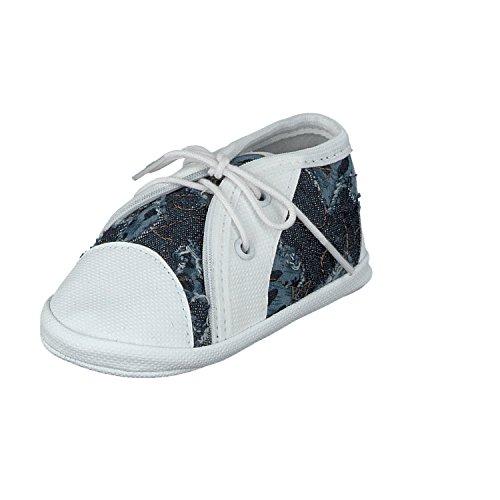 Omnia-Baby Pantau.eu Babyschuhe Lauflernschuhe Kinderschuhe Babyschühchen Krabbelschuhe, Jeansstoff - Zapatos primeros pasos para niño Blau mit Muster