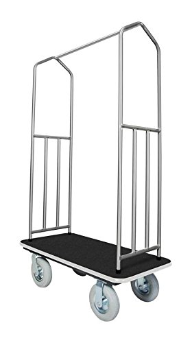 Stainless Steel Bellman's Cart with Black Deck