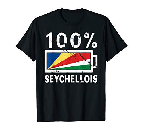 Seychelles Flag T-Shirt | 100% Seychellois Battery Power Tee ()