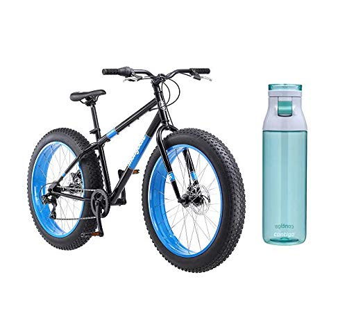 Mongoose Dolomite Fat Tire Mountain Bike with Blue Bottle (Black)