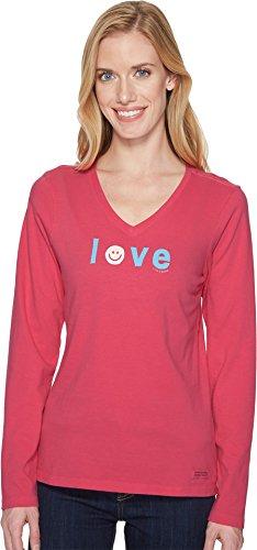 Crusher Vee Longsleeve Smiley Love, Fiesta Pink, Large ()