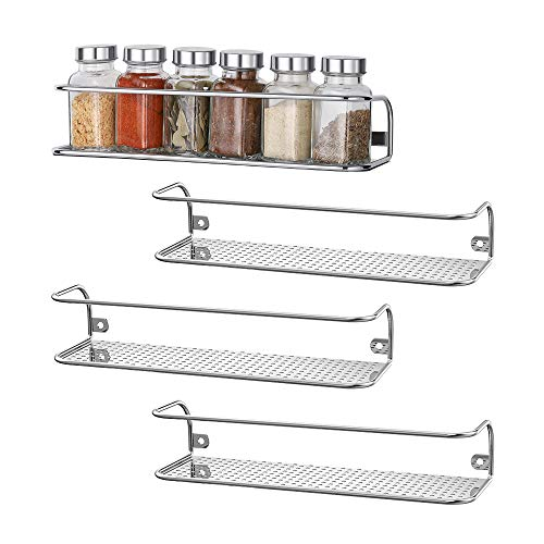 NEX Wall Mount Spice Racks for Kitchen Storage Chrome - Set of 4