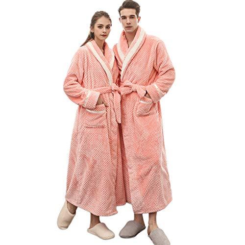Clearance Sales Christmas Unisex Winter Plush Shawl Bathrobe Lengthened Thicken Kimono Robe Homewear Soft Sleepwear (Pink, ()