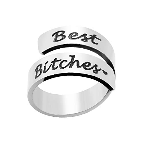 (omodofo Inspirational Motivational Ring Adjustable Personalized Stainless Steel Spiral Wrap Twist Ring Encouragement Personalized Jewelry Birthday Gifts for Girls (Best Bitches))