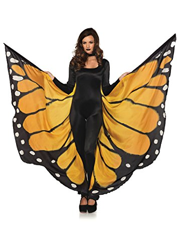 Adult Monarch Butterfly Costumes (Leg Avenue Women's Festival Monarch Butterfly Cape, Orange/Black, One Size)