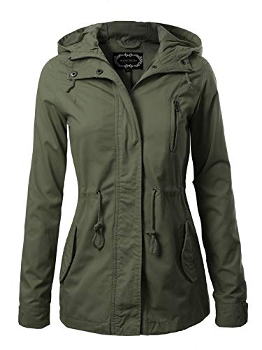 Instar Mode Women's Military Anorak Safari Hoodie Jacket Olive L