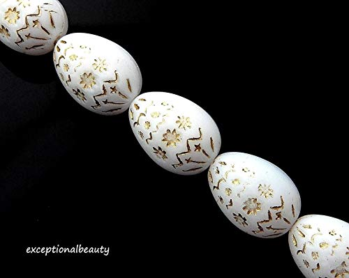 5 Beads 19mm Big Alabaster White Gold Inlay Easter Oval Egg 3D Czech Glass