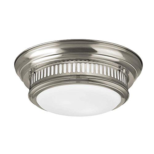 Langdon Mills 10009 Gladstone 2-Light Flush Mount Ceiling Light, Brushed Nickel