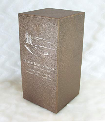 Personalized Engraved Pine Trees Cremation Urn for Human Ashes - Made in America -Handcrafted in The USA by Amaranthine Urns- Eaton DL- Adult Funeral Urn(up to 200 lbs Living Weight) (Cast Bronze)