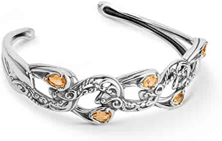a965d385839 Carolyn Pollack Sterling Silver Citrine Gemstone Rope and Scroll 5-Stone Cuff  Bracelet Size S