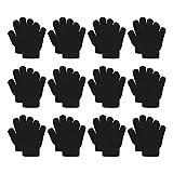 12 Pairs Kid's Winter Magic Gloves Children Knit Warm Gloves Ice Stake Gloves (Free size, Black)