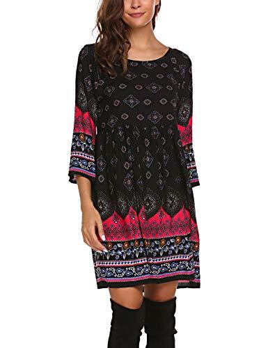 - SE MIU Women Print Ethnic Bohemian Loose Casual Dress, Black, XXL