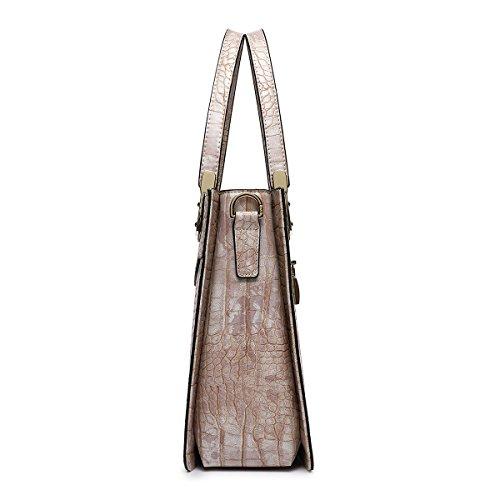 Crocodile Purses Handle Top Beige Ladies Kadell Women Bag Tote Handbags Purple Embossed And For Azq0WwTBRw