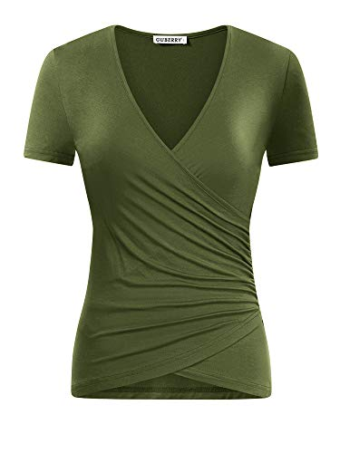 GUBERRY Women's Open V Front Short Sleeve Ruched Cross Wrap Sexy Slim Fit Tops
