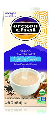 Oregon Chai Slightly Sweet Chai Tea Latte Concentrate 32-Ounce Boxes (Pack of 6), Liquid Chai Tea Concentrate, Spiced Black Tea For Home Use, Café, Food Service from Oregon Chai