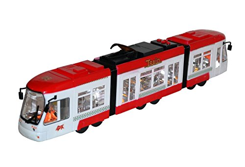 Kinder Spielzeug Straßenbahn Tram Zug Bus Rot mit LED Licht, Scheinwerferlicht, Sound, fährt vor & zurück NEU