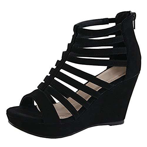 Cambridge Select Womens Strappy Open Toe Caged Geometric Cutout Gladiator Platform Wedge Sandal