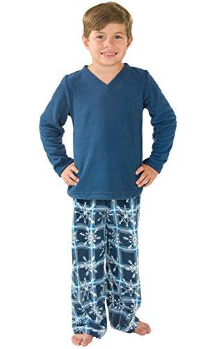 Boys Pants Fleece Pajama (PajamaGram Snowflake Fleece Pajamas, Blue, Big Boys' 6)
