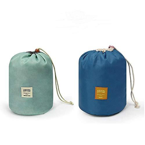 2 Pieces Barrel Shaped Travel Bag Makeup Bag Travel Kit Organizer Bathroom Storage Carry Case Toiletry Bags (Blue and Deep Blue)