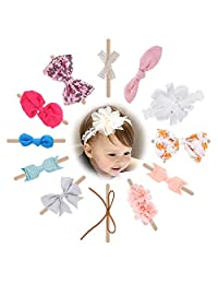 WATINC 12Pcs Baby Girl Headbands and Bows, Elastics Hairbands for Newborn Toddler