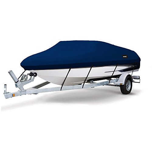MSC Heavy Duty 600D Marine Grade Polyester Canvas Trailerable Waterproof Boat Cover,Fits V-Hull,Tri-Hull, Runabout Boat Cover (Navy, Model D - Length:17'-19' Beam Width: up to 96