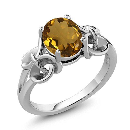 1.40 Ct Oval Whiskey Quartz 925 Sterling Silver Ring (Size (Sterling Silver Whiskey)