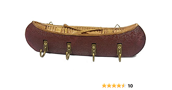Canoe Decorative Key Hooks Key Rack Wall Plaque Red Office Products