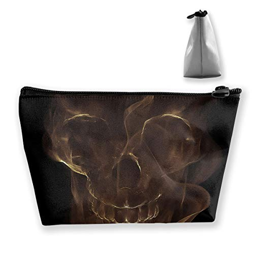 FJSLIE Smoke Skull Ocean Pirate Women Cosmetic Bags Multi Function Toiletry Organizer Bags,Hand Portable Pouch Travel Wash Storage Capacity with Zipper(Trapezoidal)