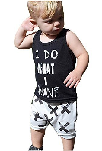 2pcs Newborn Toddler Kids Baby Boys Girls Black T-shirt Tops+White Cross Print Pants Outfits Clothes Set (70(0-6months)) -