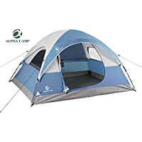 Alpha Camp Dome Tent For Camping Easy Setup Tent with Foot Mat + Alpha Camp 17 Oz Water Bottle