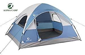 ALPHA CAMP 3 Person Dome Tent for Camping Backpacking Tent - 8' x 7' Blue
