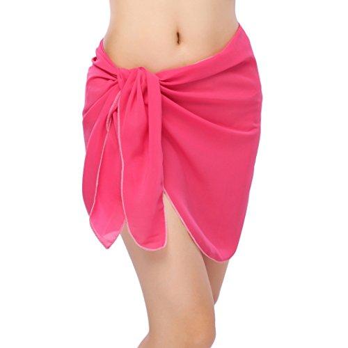 ChinFun Women's Sarong Wrap Beach Swimwear Chiffon Cover Up Short Pareo Bikini Swimsuit Wrap Skirt Bathing Suit Shawl Semi-Sheer Translucent Solid Light Fushcia