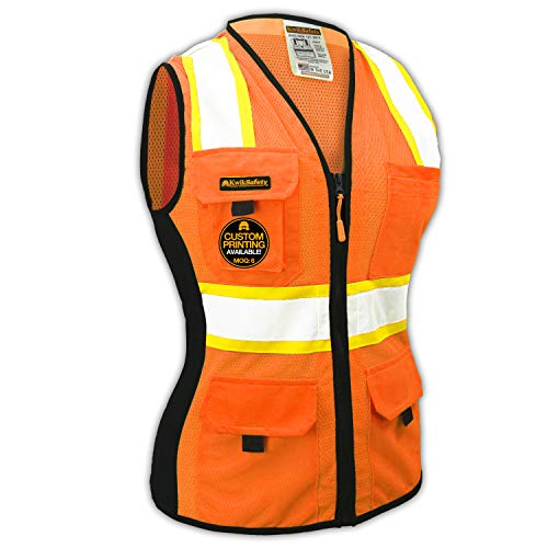- KwikSafety (Charlotte, NC) FIRST LADY Safety Vest for Women | Class 2 ANSI OSHA PPE | High Visibility Heavy Duty Mesh Pockets Zipper | Hi-Vis Construction Work Hi-Vis Surveyor Female | Orange Large