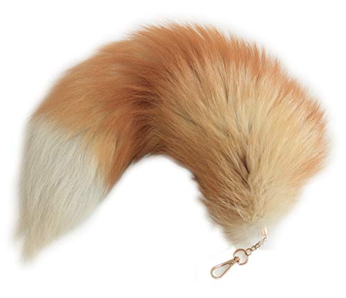 HonestShop 16.5 Supper Huge Fluffy Golden Yellow Fox Tail Fur Cosplay Toy Alopex Lagopus Handbag Accessories Key Chain Ring Hook Tassels Fashion