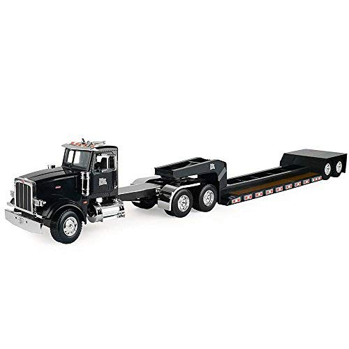 Peterbilt Tractor Trailer Diecast Toy - TOMY John Deere 1/16 Big Farm Semi with Low Boy - Wide Load