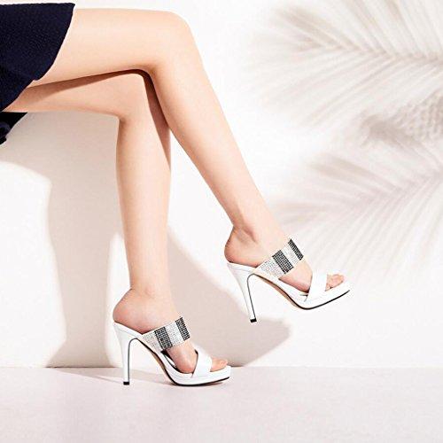 Stiletto High CJC Platform Thin Sandals Fashion High Heels White Waterproof High Heels Heels Toe Heeled Open Elegant Sexy Hx5q5gwv