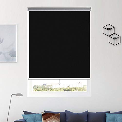 Donutse Roller Shades Blackout Blinds and Shades Cordless Blinds Door Window Blinds for Home Office Black,24×72 inch