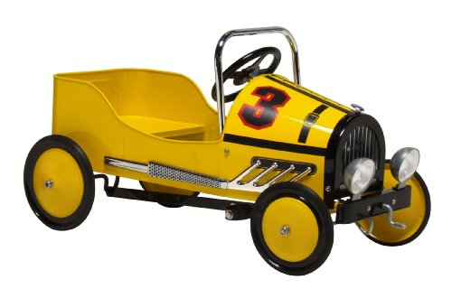 Morgan Cycle Retro Style Racer Pedal Car, Yellow (Classic Metal Pedal Car)