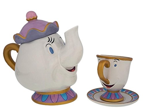 Disney Parks Ceramic Mrs. Potts Teapot and Chip Cup Set