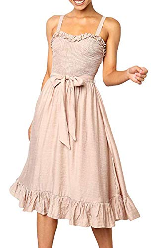 Angashion Women's Dresses - Summer Boho Floral Spaghetti Strap Belt Swing A line Midi Dress 119 Beige - New 100% Wedding Dress