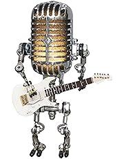Motingdi bil vintage retro metall mikrofon robot touch dimljus med gitarr heminredning