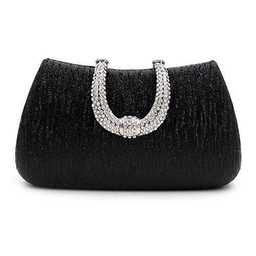 Pochette Da Donna Fibbia A Forma Di U Borsa Da Sera Di Alta Qualità Borsa Pu Diamond Party Dress Bag,Silver Black