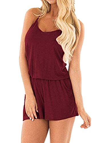 BLUETIME Women Spaghetti Strap Rompers Summer Casual Empire Waist Short Jumpsuits Rompers with Pockets (XXL, Wine Red) ()