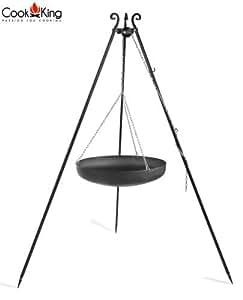 Cook King 111011 70.10cm Black Steel Pan/Wok - 180cm Tripod